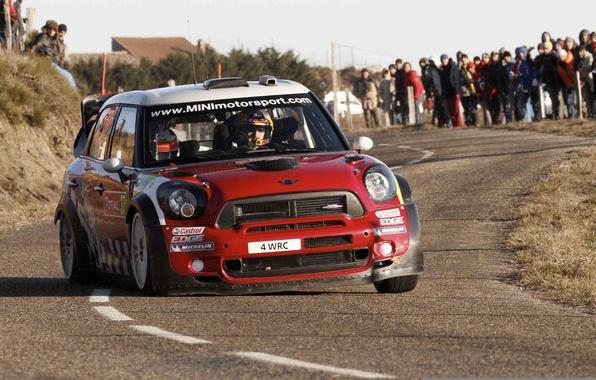 Картинка Красный, Дорога, Люди, Гонка, Red, Mini Cooper, WRC, Rally, MINI, Мини Купер
