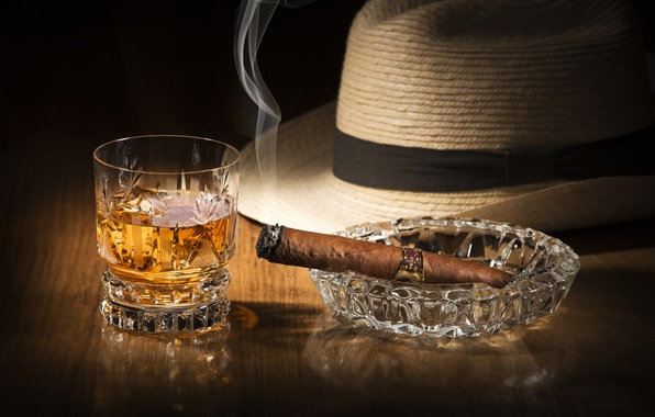 Картинка стакан, дым, шляпа, алкоголь, сигара, напиток, виски