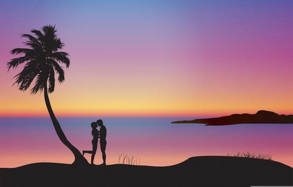 Картинка закат, пальма, романтика, пара, силуэты, влюблённые, композиция