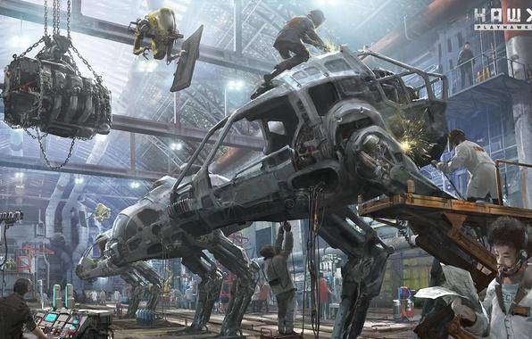 Картинка металл, люди, робот, арт, ангар, hawken