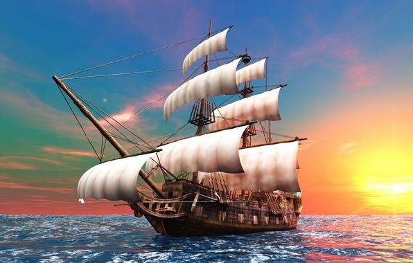 Картинка солнце, океан, рассвет, графика, корабль, парусник, паруса, бриг, мачты, бушприт