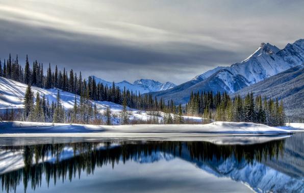 Картинка зима, снег, горы, озеро, landscape, winter, snow