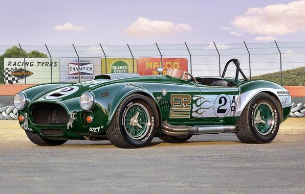 Картинка машина, время, модель, арт, автомобиль, shelby, cobra, Cobra, британский, миль, 427, гоночный, модель., 100, модификация, …