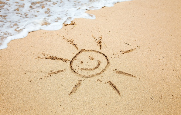 Картинка песок, море, пляж, лето, пена, вода, солнце, улыбка, фон, widescreen, обои, настроения, рисунок, волна, wallpaper, …