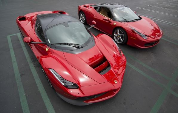 Картинка красные, Ferrari, Ferrari 458 Italia, Sports Cars, Ferrari LaFerrari