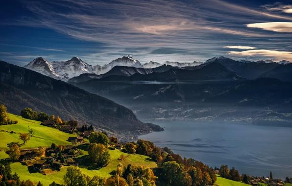 Картинка осень, горы, озеро, Швейцария, Альпы, Switzerland, Swiss Alps, Lake Thun, Тунское озеро, Bernese Oberland, Thunersee