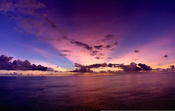 Картинка небо, вода, облака, лучи, закат, вечер, sky, Pacific Ocean, sunset, water, clouds, evening, rays, тихий …