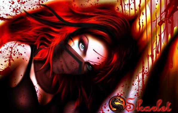 Картинка взгляд, девушка, кровь, игра, маска, арт, зеленые глаза, Mortal Kombat, красные волосы, Skarlet