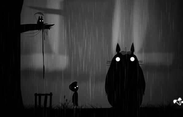Картинка ночь, дождь, арт, Тоторо, Limbo. мальчик