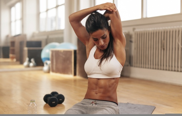 Фото обои brunette, pose, fitness, arm, stretching, sportswear