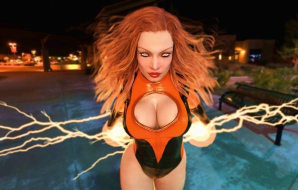 Картинка грудь, взгляд, девушка, рендеринг, фантастика, арт, рыжая