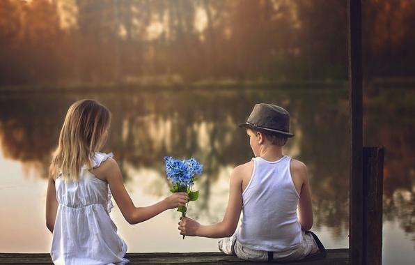 Картинка цветы, мальчик, девочка, свидание