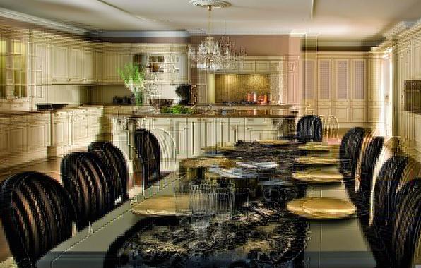 Картинка дизайн, стол, фон, комната, обои, стулья, интерьер, кухня, тарелки, посуда, квартира, wallpapers