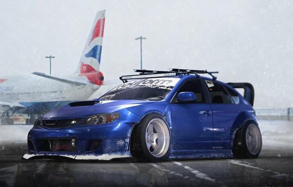 Фото обои Snow, Subaru, Stance, Blue, Impreza, WRX, STI