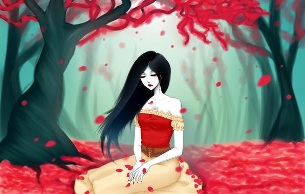 Картинка листья, девушка, дерево, арт, красные, adventure time, eirintomo, marceline