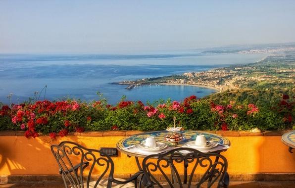 Картинка море, цветы, побережье, Италия, столик, Italy, терраса