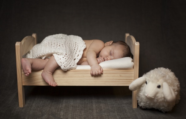 Картинка дети, игрушка, сон, малыш, спит, платок, ребёнок, младенец, овца, кроватка
