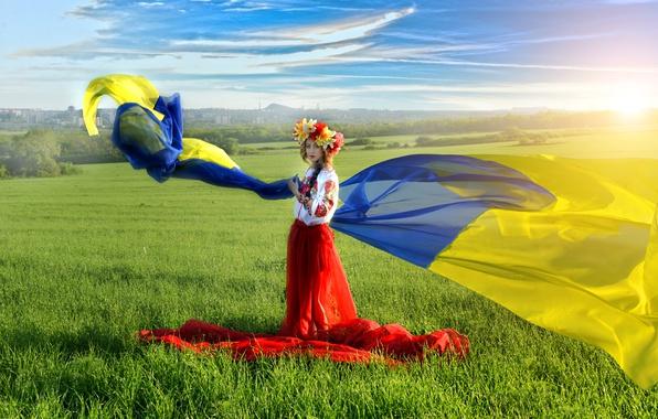 Картинка поле, небо, трава, синий, желтый, флаг, блондинка, коса, Украина, венок, украинка, вышиванка