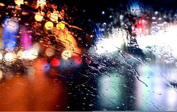 Картинка стекло, огни, дождь, rain, bokeh