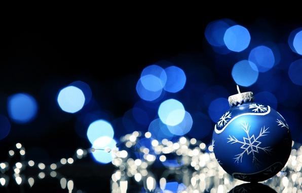 Картинка зима, синий, узор, шар, Новый Год, Рождество, декорации, Christmas, праздники, боке, New Year
