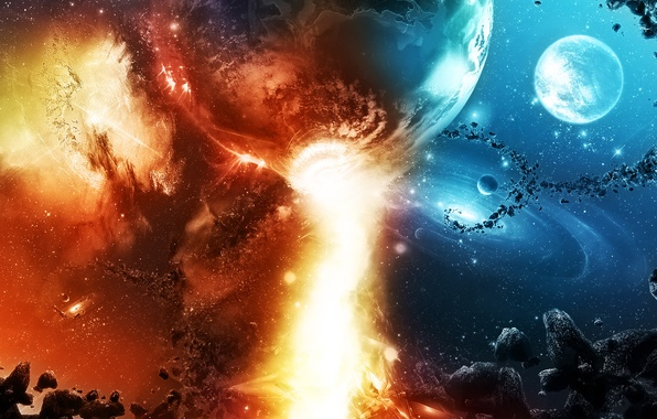 Картинка небо, космос, звезды, камни, фантастика, огонь, планеты, красиво, созвездия, метеориты