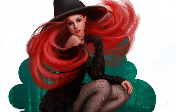 Картинка девушка, шляпа, арт, рыжая, ведьма, хэллоуин, halloween