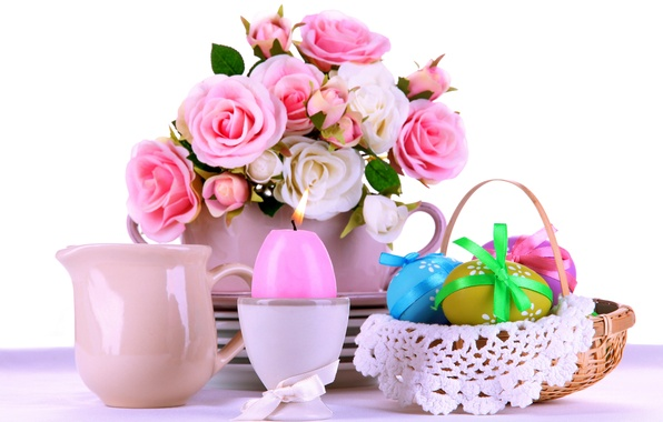 Картинка розы, яйца, пасха, pink, flowers, eggs, easter, roses, candle, сервировка