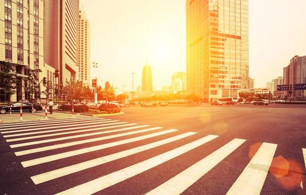 Картинка дорога, авто, солнце, свет, деревья, машины, жизнь, city, город, люди, улица, здания, дома, небоскребы, утро, …