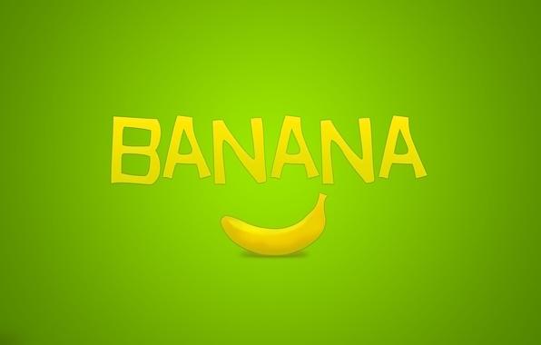 Картинка надпись, минимализм, фрукт, зелёный, банан