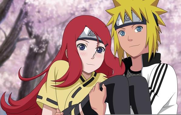 Картинка girl, love, red hair, anime, blue eyes, boy, blonde, ninja, manga, children, shinobi, naruto shippuden, …