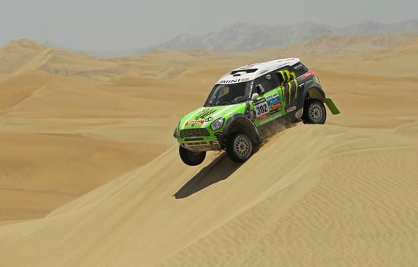 Картинка зеленый, Спорт, Пустыня, Mini Cooper, Rally, Dakar, Дакар, Ралли, MINI, Мини Купер, Дюна, X-raid