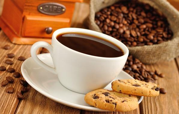 Картинка кофе, зерна, печенье, мельница, кружка, чашка, напиток, мешок
