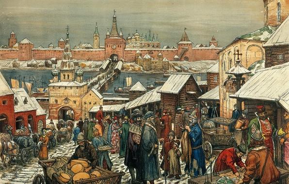 Картинка мост, река, люди, здания, картина, кремль, живопись, телега, холст, торговля, купцы, обоз, Новгордский торг, Васнецов …