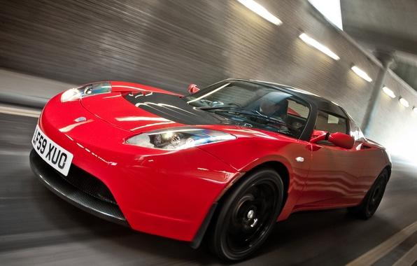 Картинка Roadster, Красный, Дорога, Спорт, Машина, Движение, Red, Car, Автомобиль, Cars, Tesla, Sport, Road, Родстер, UK-spec, ...