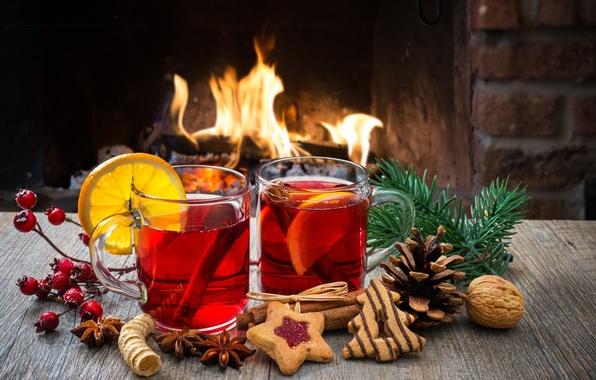 Картинка огонь, праздник, вино, печенье, fire, камин, напитки, Happy New Year, wine, Merry Christmas, holiday, drink, …