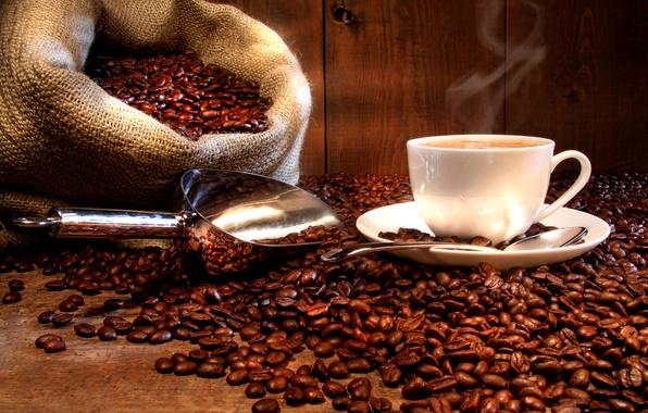 Картинка кофе, горячий, зерна, ложка, чашка, напиток, мешок, блюдце, совок