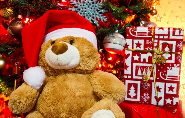 Картинка праздник, игрушки, новый год, рождество, медведь, подарки, ёлка, christmas, new year