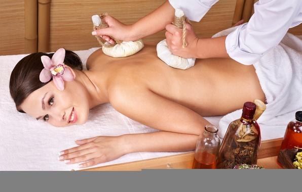 Обои картинки фото girl, brunette, tender spirit, spa, massage, flower, orchid
