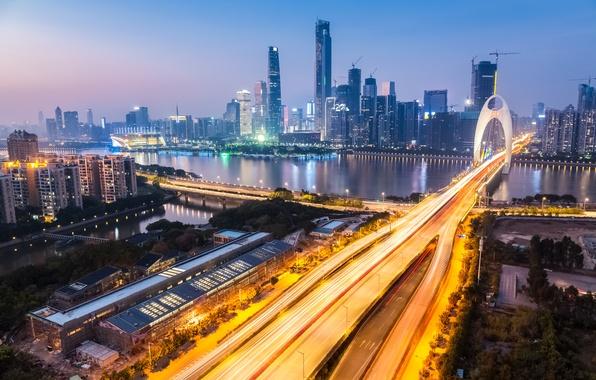 Картинка дорога, огни, река, дома, вечер, Китай, мосты, мегаполис, Zhujiang New Town