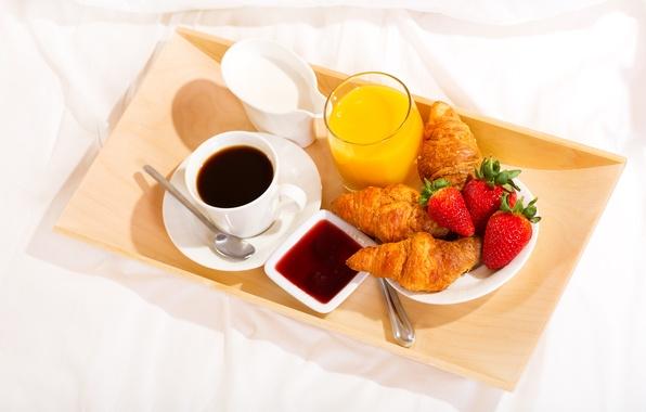 Картинка кофе, завтрак, сливки, клубника, сок, cup, джем, поднос, coffee, круассаны, croissant, breakfast