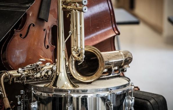Картинка музыка, скрипка, труба, инструменты, ударные, саксофон