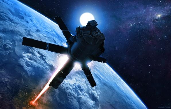 Картинка космос, земля, планета, спутник, луч, арт, орбита, лазер, alexiuss