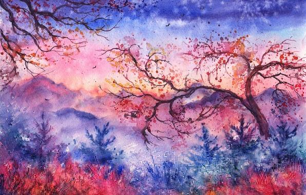 Картинка деревья, закат, горы, птицы, листва, вечер, акварель, ёлки, нарисованный пейзаж