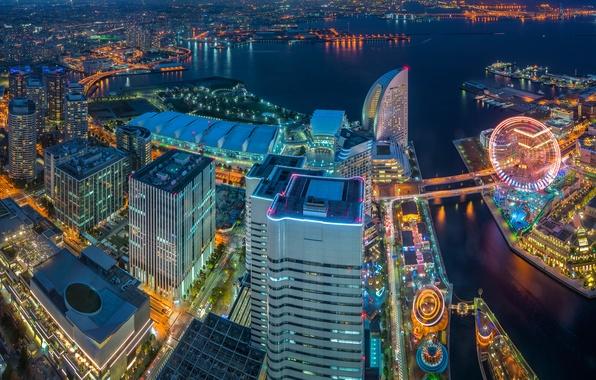 Картинка здания, Япония, панорама, залив, Japan, ночной город, небоскрёбы, Yokohama, Tokyo Bay, Иокогама, Токийский залив, Minato …