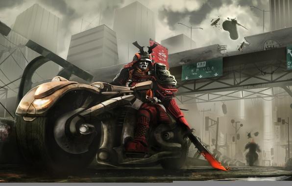 Картинка дорога, мост, город, меч, доспехи, самурай, мотоцикл, дуэль, байк