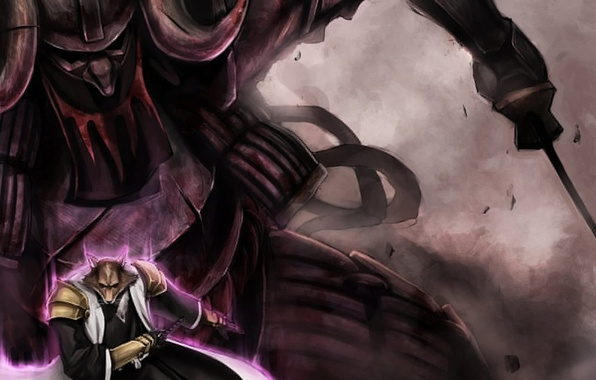 Картинка меч, аниме, воин, арт, Bleach, art, блич, bankai, Captain Komamuro