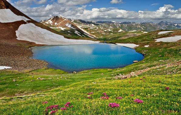 Картинка небо, трава, облака, пейзаж, горы, природа, озеро, весна