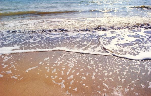 Картинка песок, море, волны, пляж, берег, summer, beach, sea, blue, sand, shore, paradise