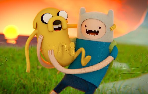 Картинка солнце, обои, собака, арт, art, анимация, jake, cartoon network, время приключений, Adventure time, джейк, финн, …