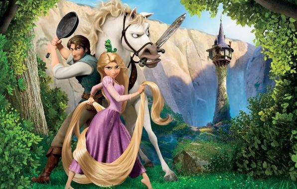 Картинка лес, небо, трава, деревья, цветы, горы, хамелеон, ручей, замок, конь, волосы, башня, меч, долина, Рапунцель, …